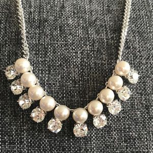 Silver pearl and zircon necklace